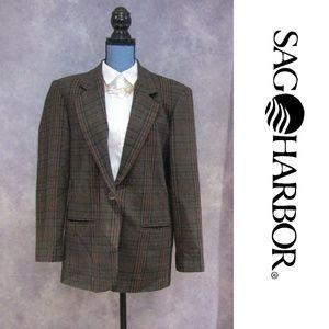Sag Harbor Wool Blend Plaid Blazer Size 12